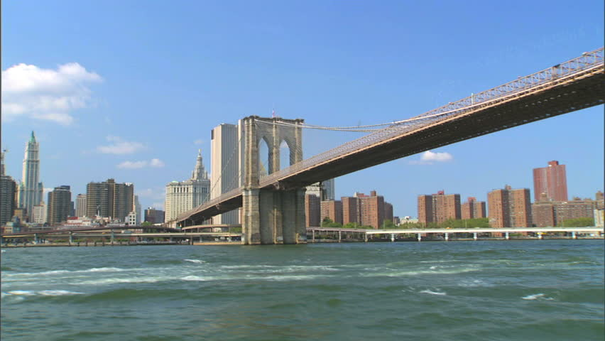 A nicely composed shot of the Brooklyn Bridge as seen from the water