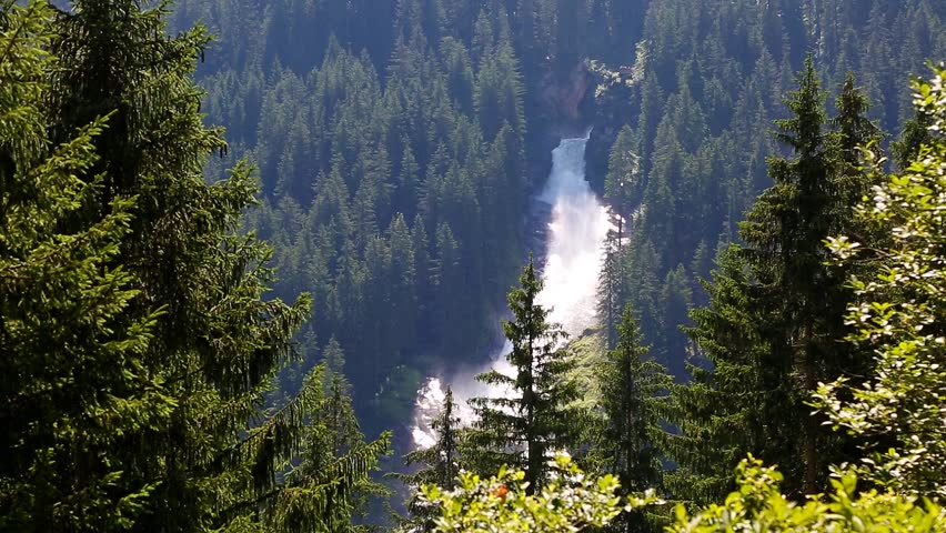 Nice views of the powerful Krimml cascade. Popular tourist attraction. Unusual and picturesque scene. Location place High Tauern National Park in Salzburg state. Austrian alps Europe. Beauty world.