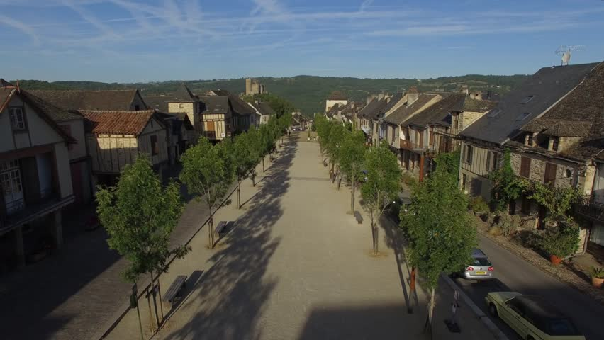 Aerial view by drone of Najac, classified among the most beautiful villages of France, Aveyron, Occitanie, France Occitanie, Najac, Aveyron, France