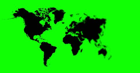 World Map 4K Animation With Depth Of Field Saved With Green Alpha Channel