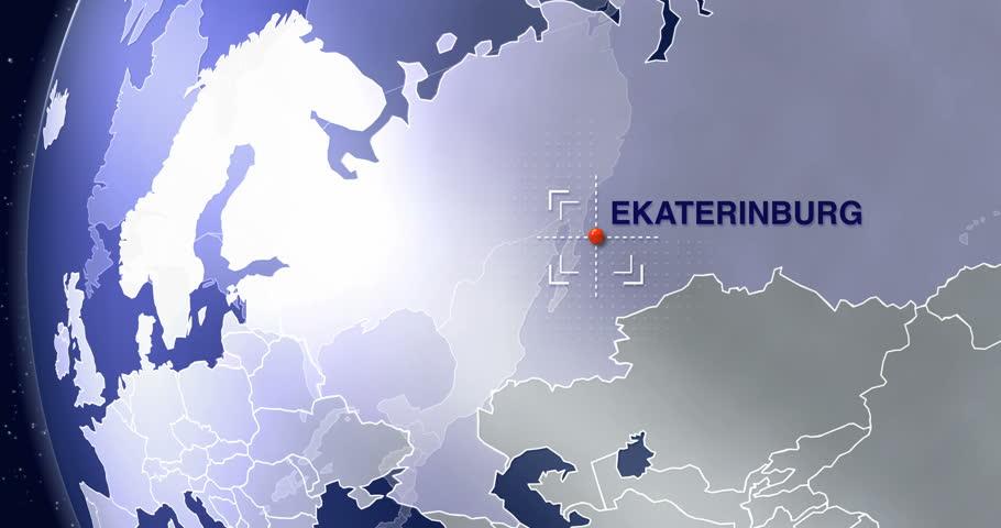 Ekaterinburg Animated World Map Zoom Stock Footage Video 100