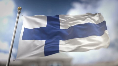 Finland Flag Waving Slow Motion 3D Rendering Blue Sky Background - Seamless Loop 4K