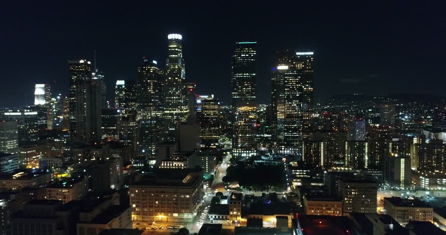 Night Aerial, drone shot Downtown Los Angeles  / Los Angeles / 03.20.2017