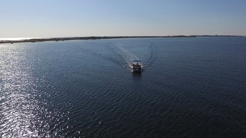 Boat on the Bay. Drone