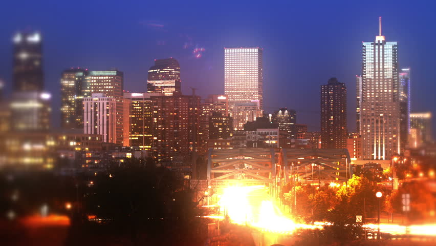 Dream-like view of downtown Denver, Colorado at dusk. HD 1080p time lapse.