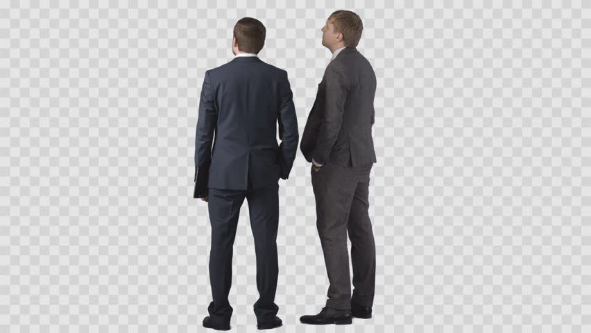 Two men in business clothes are looking at something in front of them. Back view. Clip with alpha channel