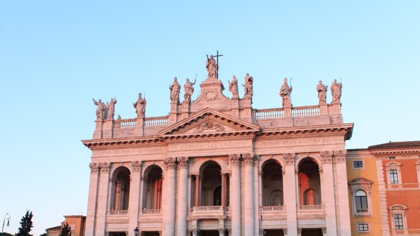 Basilica San Giovanni Zoom Sunrise Rome, Italy time lapse. | Shutterstock HD Video #25317038