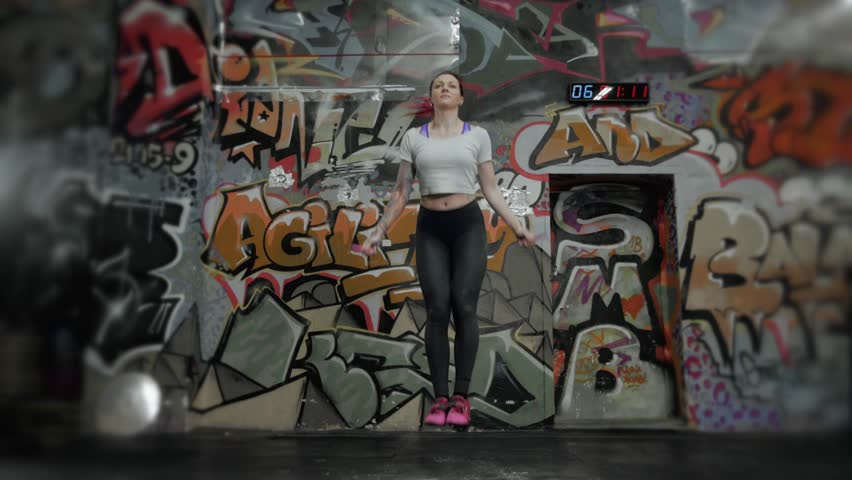 4k0015beautiful Sporty Woman Workout With Jumping Rope In Crossfit Gym Sexy Girl Athlete Jump