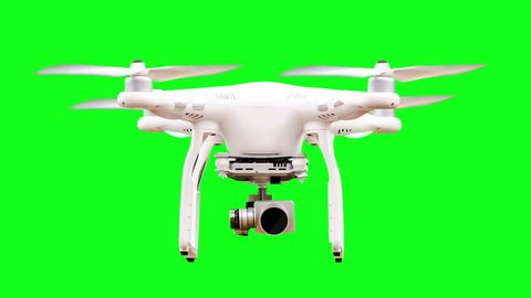 Green Screen Drone Static with Rotating Rotors and Camera from Take-Off to Touch-Down