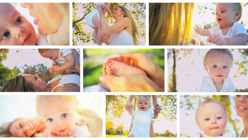 Montage images young Caucasian mother with new baby
