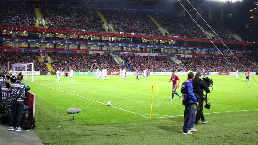 MOSCOW, RUSSIA - SEPTEMBER 10, 2016: Alan Dzagoev executes a corner kick on the match CSKA - Terek on the CSKA arena. Inscriptions - Rosgosstrakh, Aeroflot, Rosseti