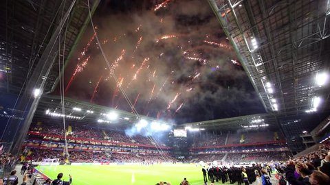 MOSCOW, RUSSIA - SEPTEMBER 10, 2016: Fireworks over the football field at CSKA arena before the match CSKA - Terek. Stadium formally opened on 23 August 2016