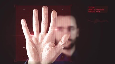 Man puts hand to the scanner. Animation of scanning and analysis biometric data from handprint. Motion graphics. 4k footage.