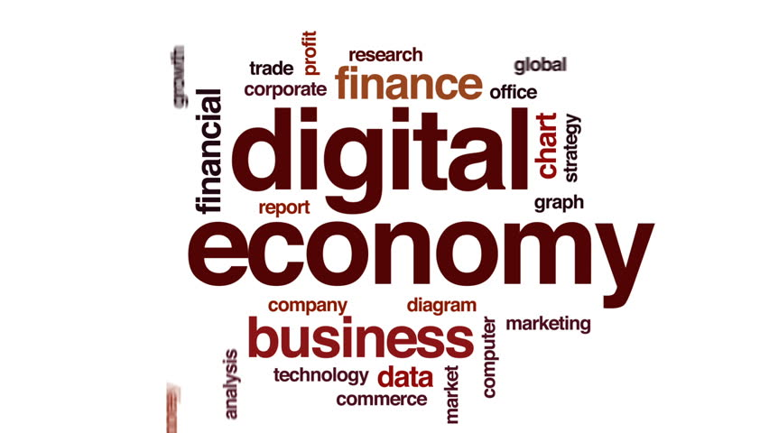 Digital economy animated word cloud, text design animation. | Shutterstock HD Video #25390679