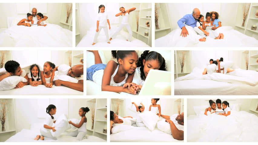 Montage scenes happy African American family generations in home bedroom