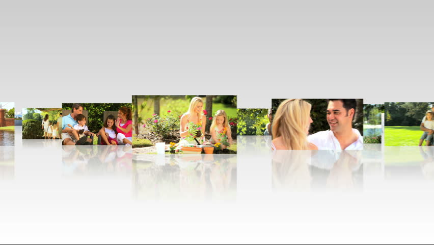 3D digital montage clips young Caucasian families enjoying personal time together outdoors