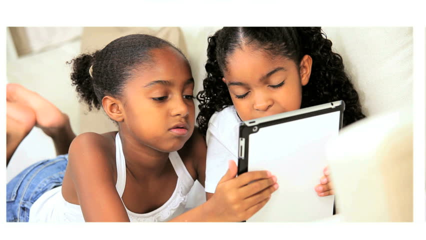 Montage modern daily lives two cute little African American girls