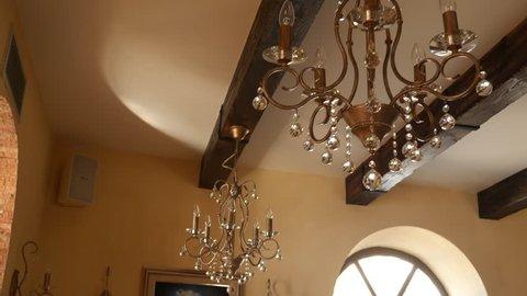 Crystal Chandelier Restaurant. The interior design of the restaurant.