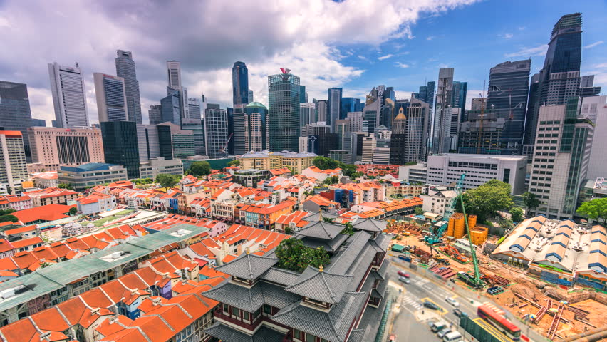 4K.Time lapse Singapore city, Old Chinatown district of Singapore