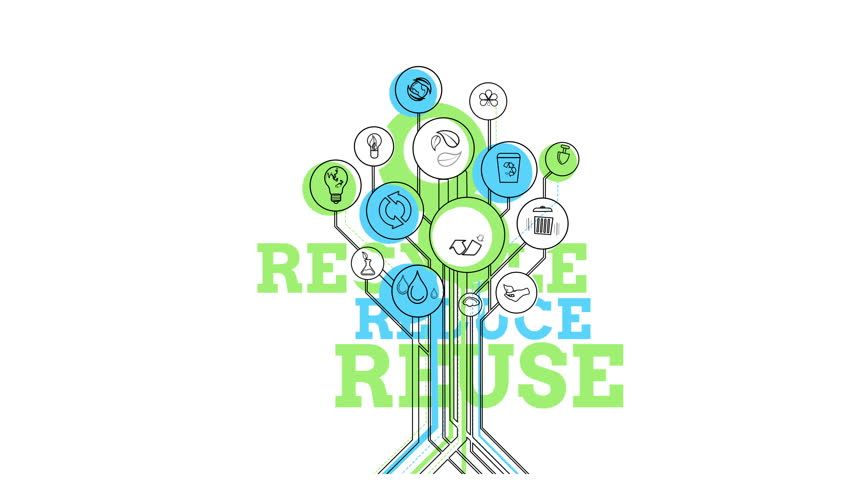 Ecological Icons Tree. Recycle, Reduce, Reuse. 4K