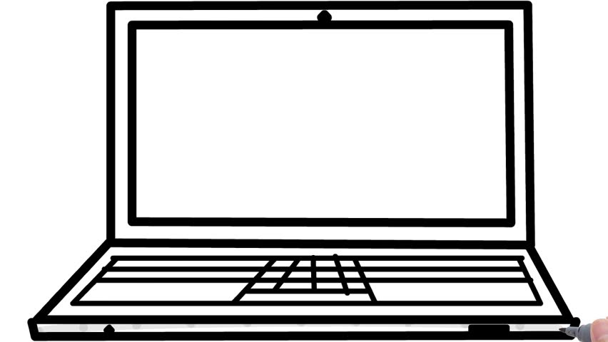 Line Art Laptop : Animation of continuous line drawing laptop computer