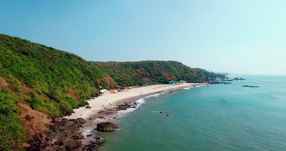 Aerial view of beach in Arambol, Goa, India. | Shutterstock HD Video #25451519
