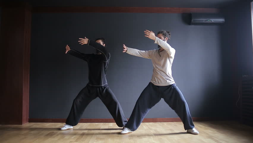 Twins brothers practice Tai Chi in the training hall