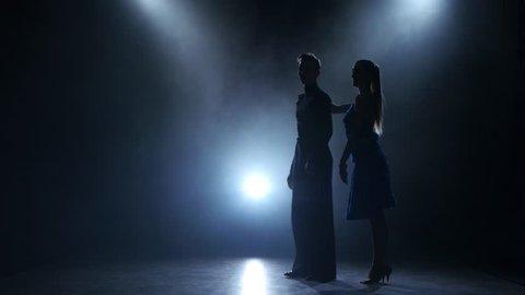 Professional couple of ballroom dancers posing in smoky studio, silhouette