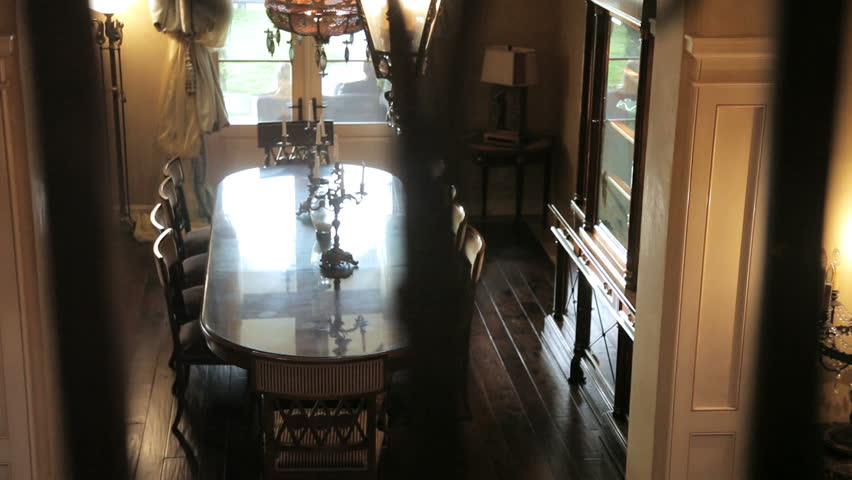 Looking down at the formal dining room