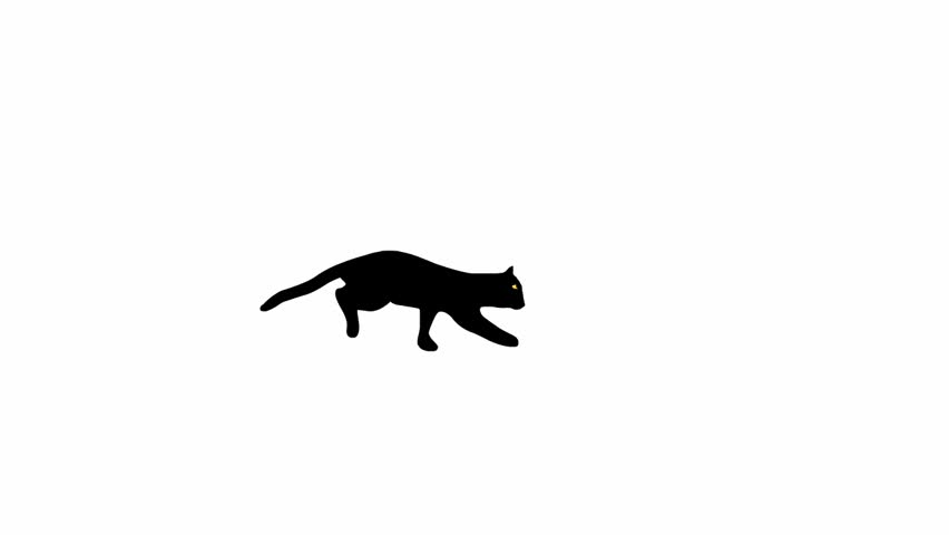 Running and jumping black feline silhouette, side view, loop animation