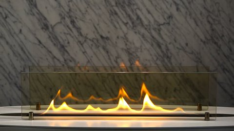 Modern  burning  interior fireplace with marble stone background.