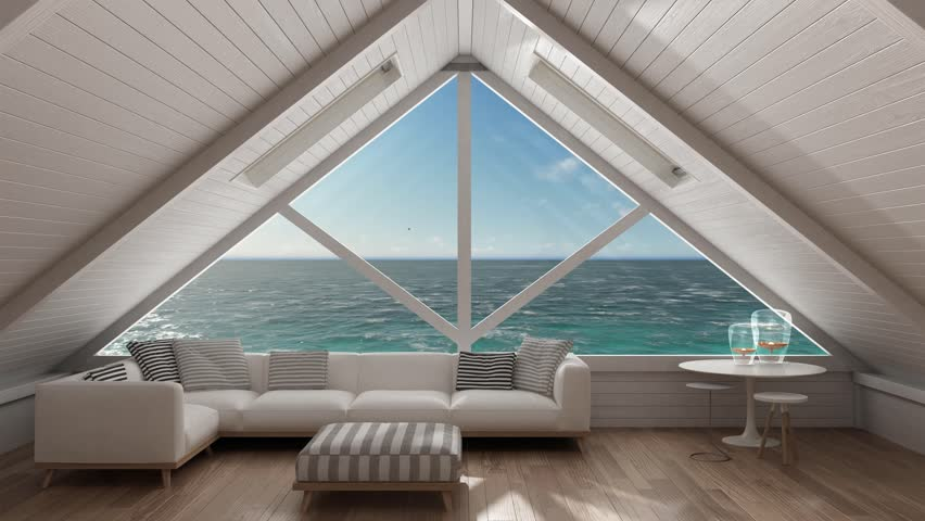 Panoramic Window On Open Sea Ocean Mezzanine Loft Living Room With Relaxing Sofa
