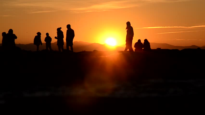 Group of people waiting for the sundown | Shutterstock HD Video #25525889