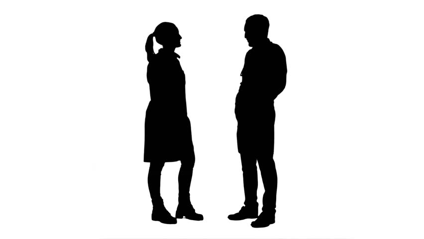 Silhouette Of Two Women Meeting And Talking, Full HD ...