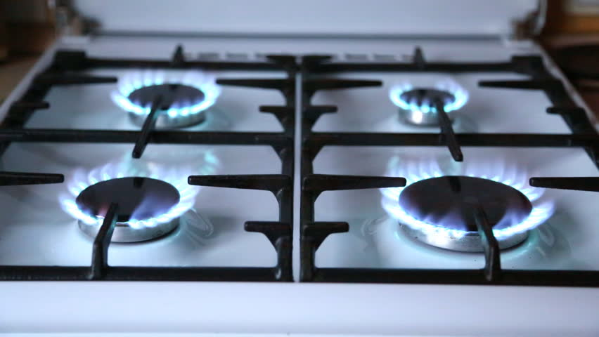 Natural Gas Inflammation In Stove Burner Top Burners Turns One By