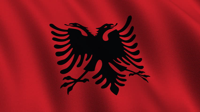 Flag Of Albania Waving In The Wind Seamless Looping D Generated - Albania flag