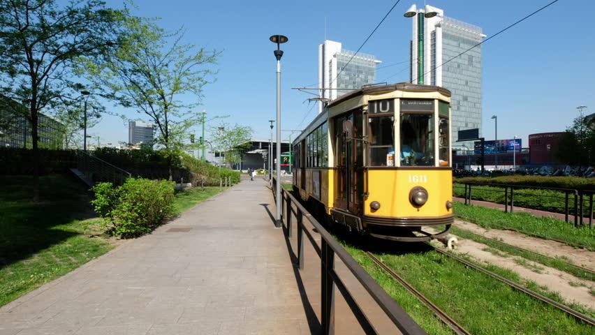 Milan Tram/Tram and rails in Porta Garibaldi and Porta Nuova area