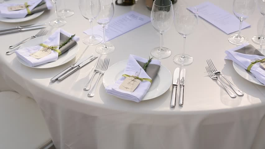 Tables at the wedding banquet. Wedding decorations. Wedding at the sea in Montenegro.