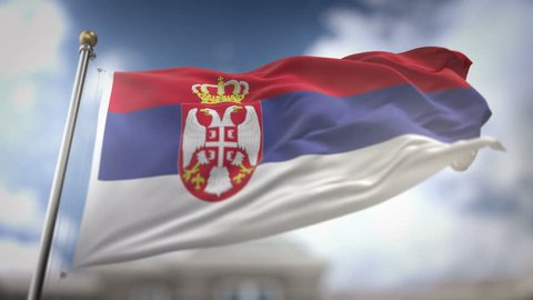 Serbia Flag Waving Slow Motion 3D Rendering Blue Sky Background - Seamless Loop 4K