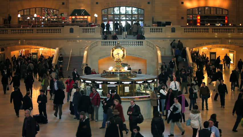 NEW YORK, NEW YORK - CIRCA MAY 2011: Grand Central Station, Central Station Hall with passengers walking