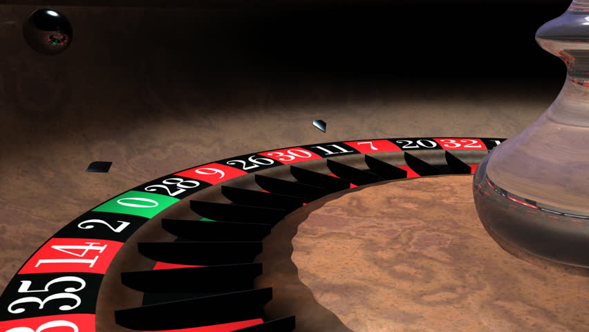 Spinning roulette wheel toward camera low angle and animated ball