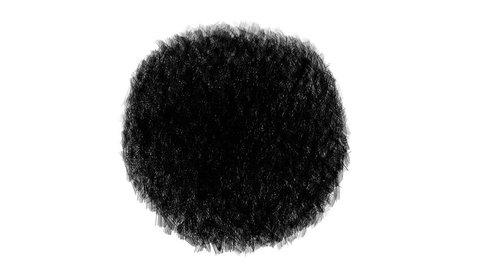 Hand drawn animation. Expanding the black circle.