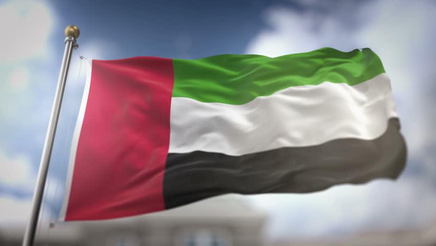 United Arab Emirates Flag Waving Slow Motion 3D Rendering Blue Sky Background - Seamless Loop 4K