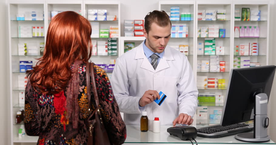 Young Pharmacist Man Use Credit Card Client Woman Buy Drug Box Medicine Pharmacy