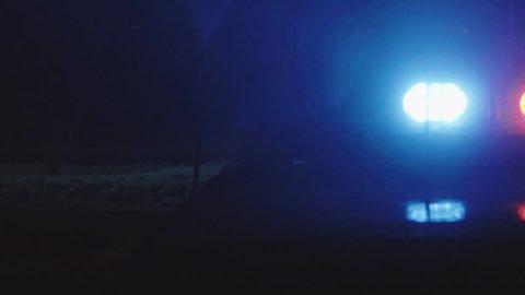 Night scene crime Incident, violation of law, attention Arrest of a dangerous criminal  Law enforcement work, Protection of citizens