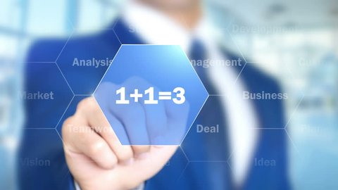 1+1=3, Businessman working on holographic interface, Motion Graphics