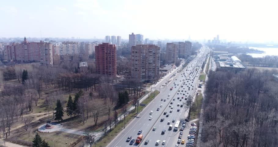 Aerial view Leningradskoye Highway, Moscow