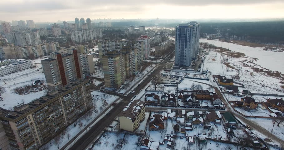 Real estate and apartments residential area on the outskirts of the town | Shutterstock HD Video #25822259