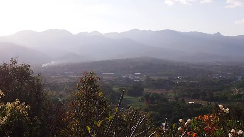 Beatiful panoramic scenery of Pai city, taken from Wat Pra That Mae Yen, Pai, Mae Hong Son, Thailand.