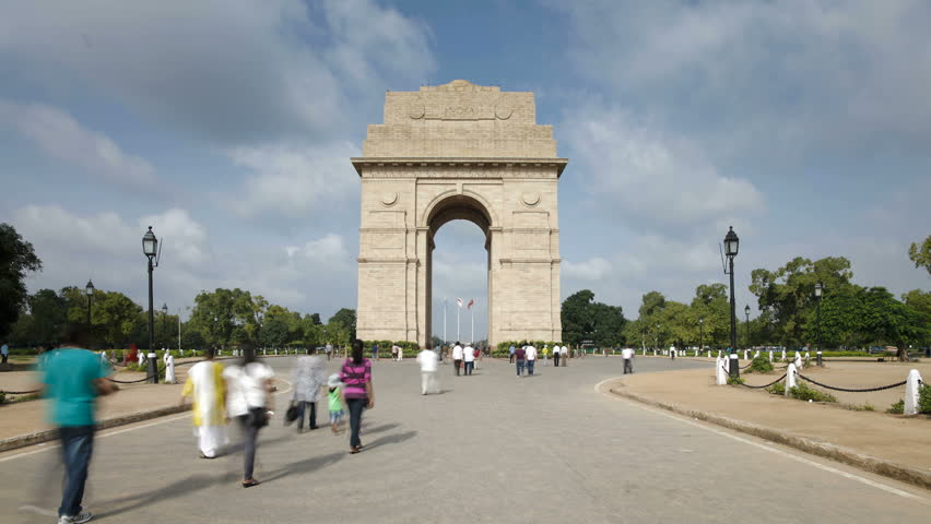 OLD DELHI, INDIA - CIRCA MAY 2011: the 42 meter high India Gate is at the eastern end of Rajpath.